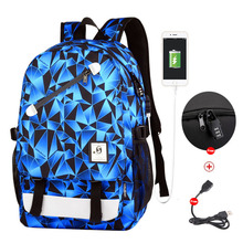 Luminous Anti-theft Backpack Noctilucent School Bags College Daypack USB chargeing port Laptop Bag For Boys Girls Men Women