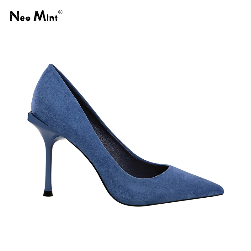 2019 New Suede Leather Women Pumps Fashion Stiletto Heels Shoes Woman Pointed Toe Thin High Heels Party Shoes Sapato Feminino