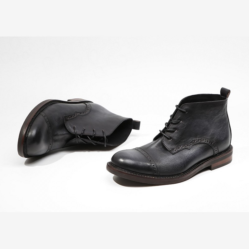 Genuine Leather Vintage Work Ankle Shoes Men Spring Autumn Black Round Toe  Booties Handmade Brogue Wing Tip Boots Men