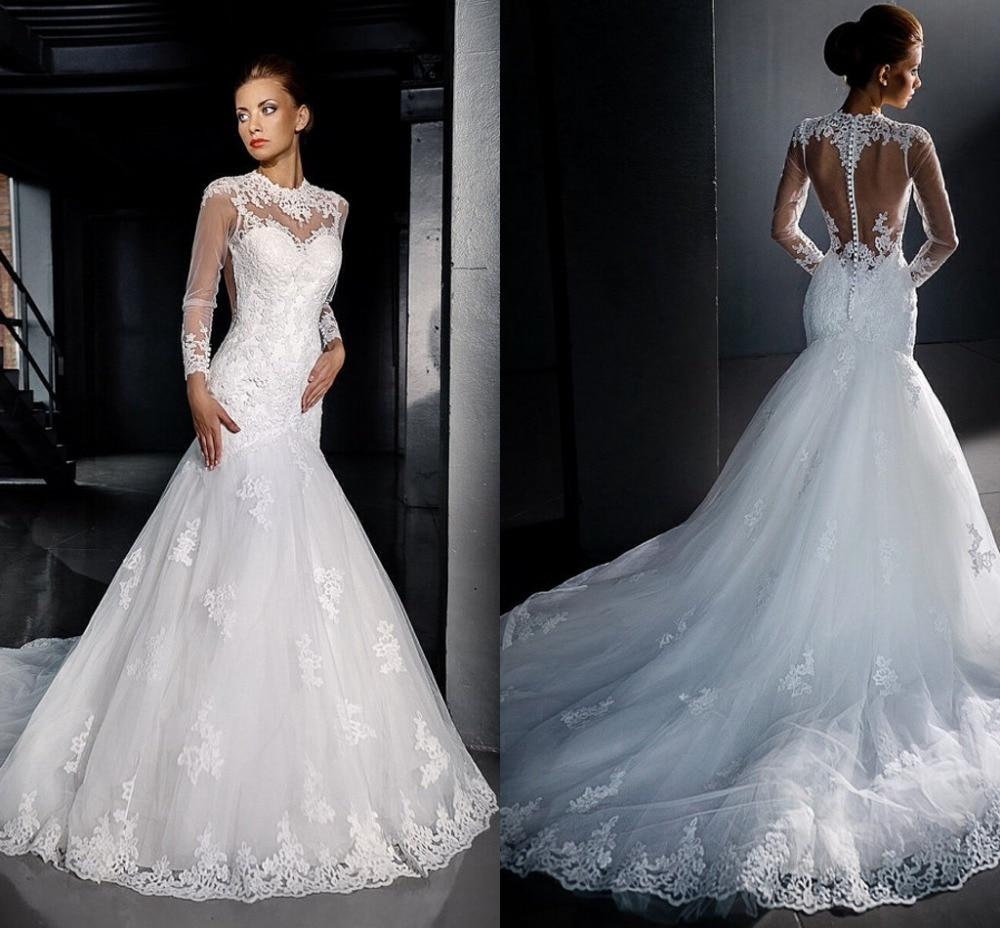 2016 Vestidos De Novia Custom See Through Bride Dresses Lace Mermaid Wedding Dresses With Court Train Wedding Gowns