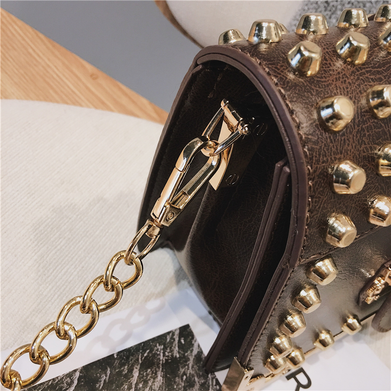 Luxury Rivet Bags for Women 2019 High Quality Vintage Leather Shoulder Bag Small Crossbody Bag Ladies Brand Chain Messenger Bag