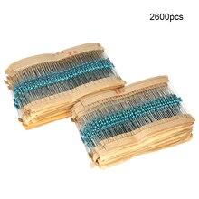 2600pcs 130 Values 1/4W 1% Metal Film Resistors Assorted Pack Kit Set Lot Resistors Assortment Kits Fixed capacitors for diy