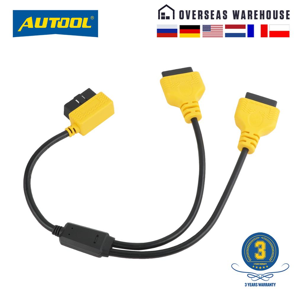 AUTOOL 50cm OBD2 Cable Connector Universal Car OBD 2 Adapter 1 to 2 Splitter Wire 16pin OBDII Male to Female Extension Cord