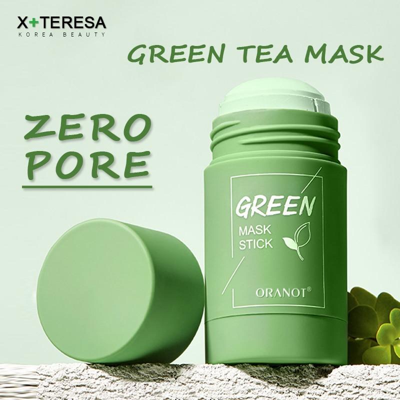 Máscara de chá verde máscara facial sólido vara controle de óleo hidratante limpeza máscara tratamento acne blackhead remover poros purificação