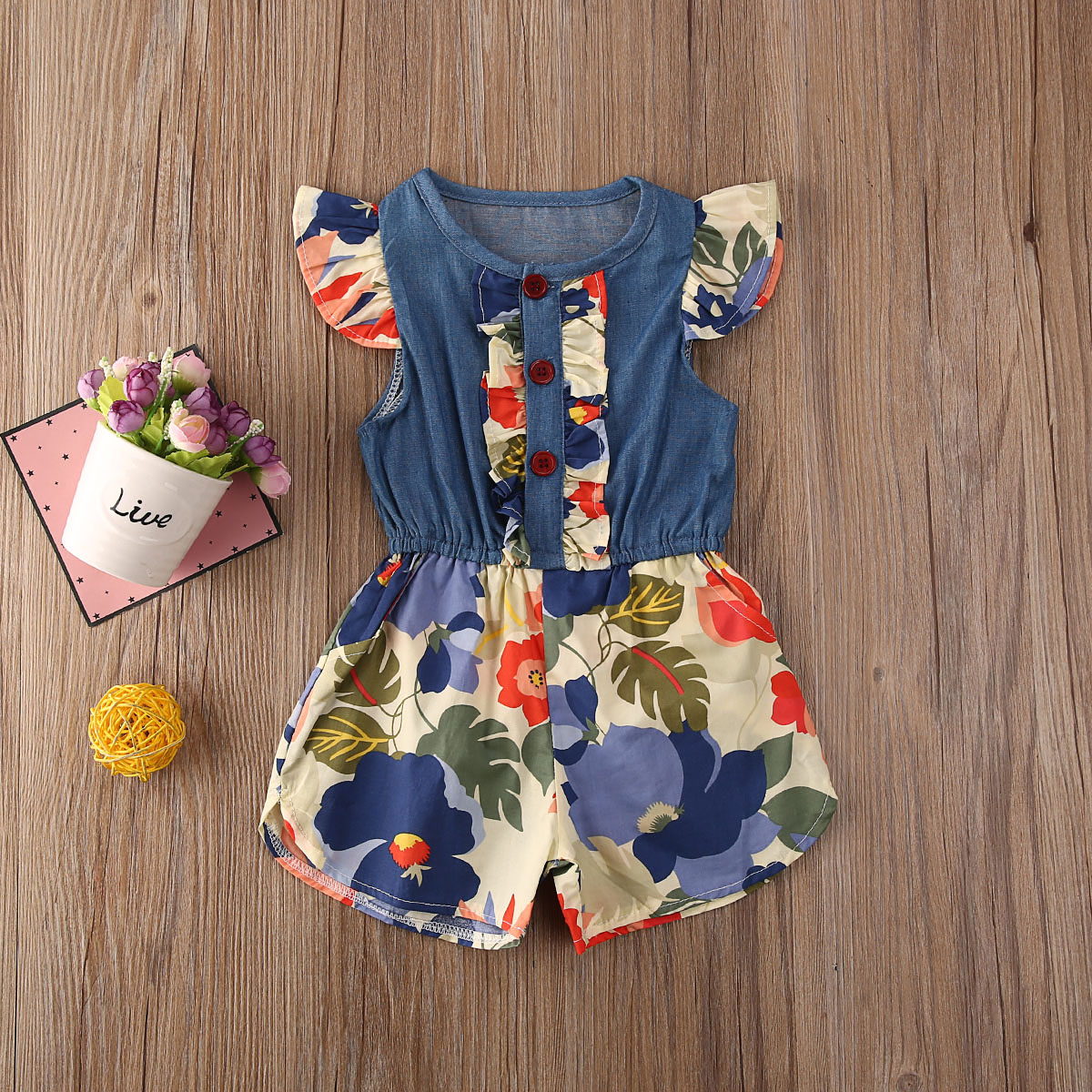 Pudcoco Newborn Baby Girl Clothes Flower Print Sleveless Denim Patchwork Romper Jumpsuit One-Piece Outfit Clothes
