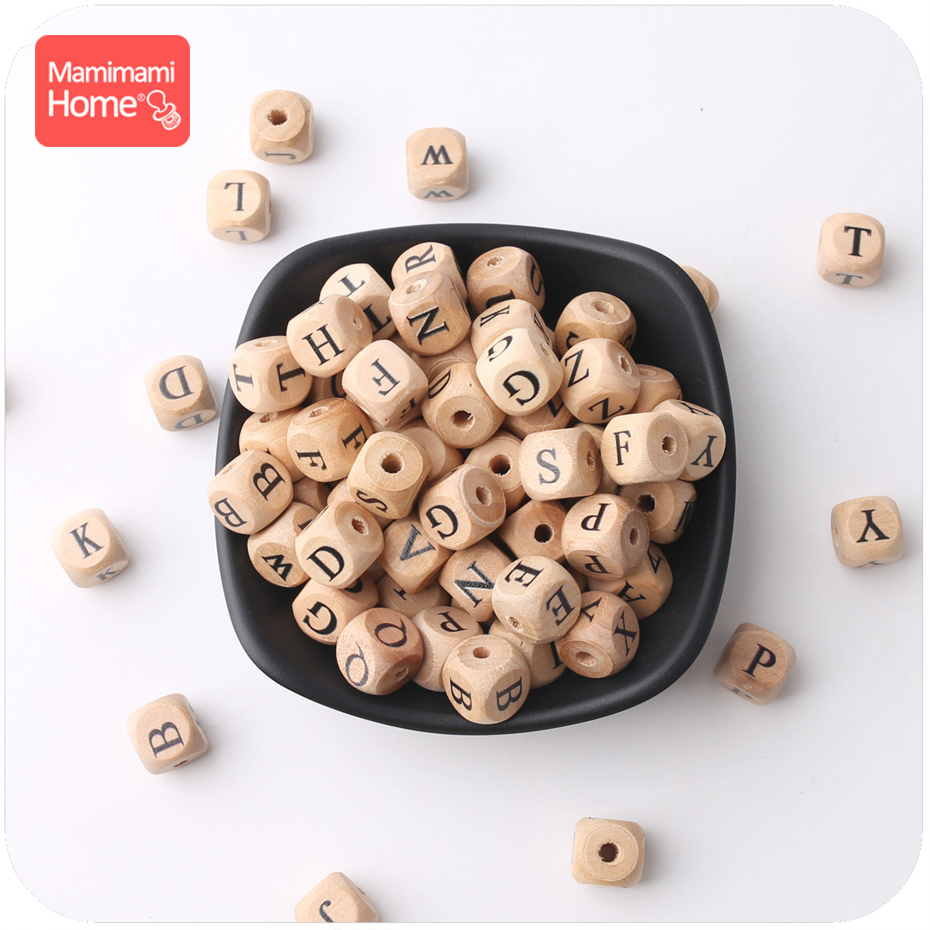 Mamihome 100PCS 12MM Baby Wooden Teether English Letter Beads Food Grade Wood Teether DIY Nursing Necklace Children'S Goods Toys