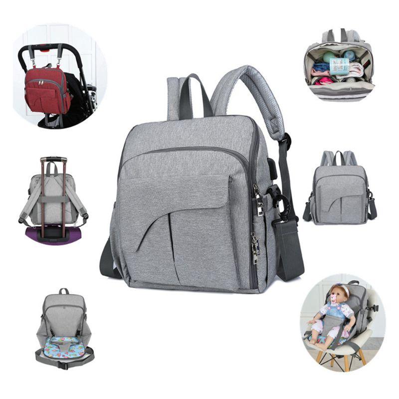 Multifunctional Mom Backpack Diaper Portable Changing Baby Chair Fixing Function Bag Handbag