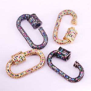 Image 4 - 3PCS, Rainbow CZ Micro Pave Crystal Zirconia Oval Clasp, Screw Metal Clasps, Necklace Connector Clasps