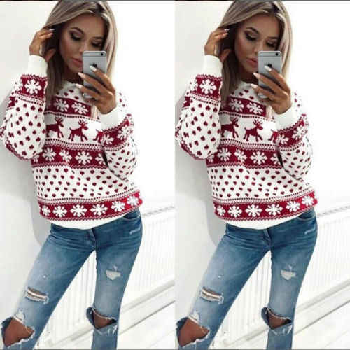 Camisola Feia do Natal Do inverno Quente Malha Loose Women Pullovers Jumper Tops Brasão Feminino Veados Ocasional Impressão Blusas