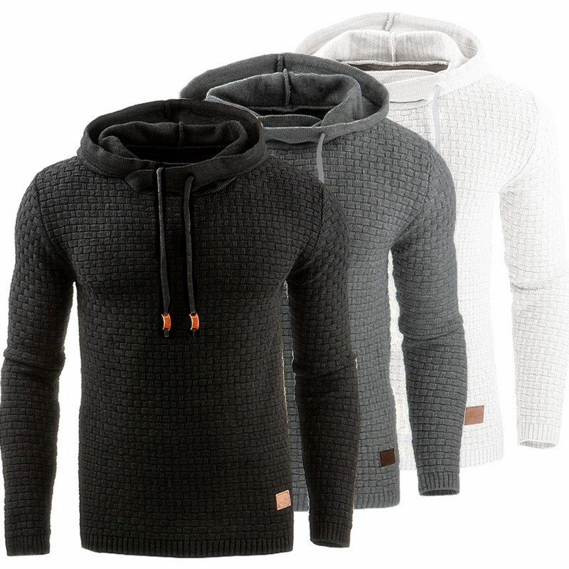 2020 Spring And Autumn New Men's Plaid Long Sleeve  Hooded Solid Color Sports Slim Men's Hoodie