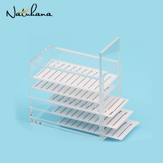 NATUHANA False Eyelash Extension Display Stand Acrylic 5 Layers Pallet Lash Display Holder Eyelashes Storage Box Container
