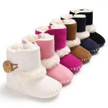 Dihope Meninas Botas de Neve de Inverno Quente Sapatos de Bebê Recém-nascido Do Bebê Sólida Botão De Pelúcia Ankle Boots Botas de Inverno do bebê quente sapatos unissex