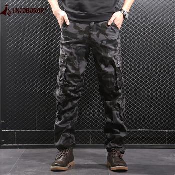 Kamuflażowe spodnie Cargo męskie kilka kieszeni bawełniane spodnie wojskowe moro spodnie wojskowe męskie Streetwear kombinezony Pantalon Homme tanie i dobre opinie UNCO BOROR V﹒A﹒TOR 189 Cargo pants Mieszkanie Poliester COTTON Kieszenie REGULAR 2 36 - 3 35 Pełnej długości Camouflage Cargo Pants
