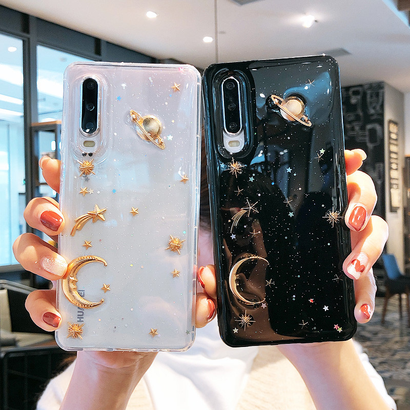 Glitter Star Saturn Planet Shockproof Phone Case For Huawei P20 P30 Lite Pro Honor 20 Pro V10 V20 9X 8X 10i mate 10 20 30 Coque image