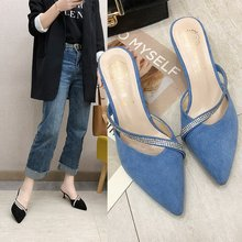 Korean-Style Toe Slippers Women #8217 s Style High Heels Thin Heeled Pointed Toe Slippers Women #8217 s Shoes High Heels Sexy Heels cheap lisybon Basic Thin Heels Flock High (5cm-8cm) LEISURE CRYSTAL Casual Rubber Slip-On 0-3cm Solid Color Off-the-Shelf Baotou