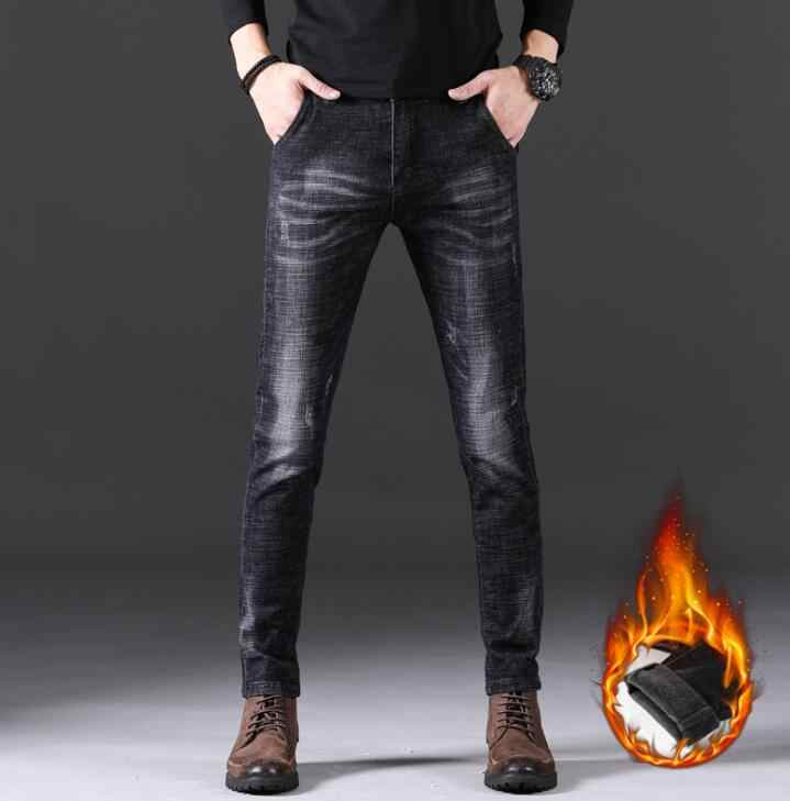 2019 Winter Warm Fleece Thickening Men Jeans Fashion Popular Long Straight Male Pants