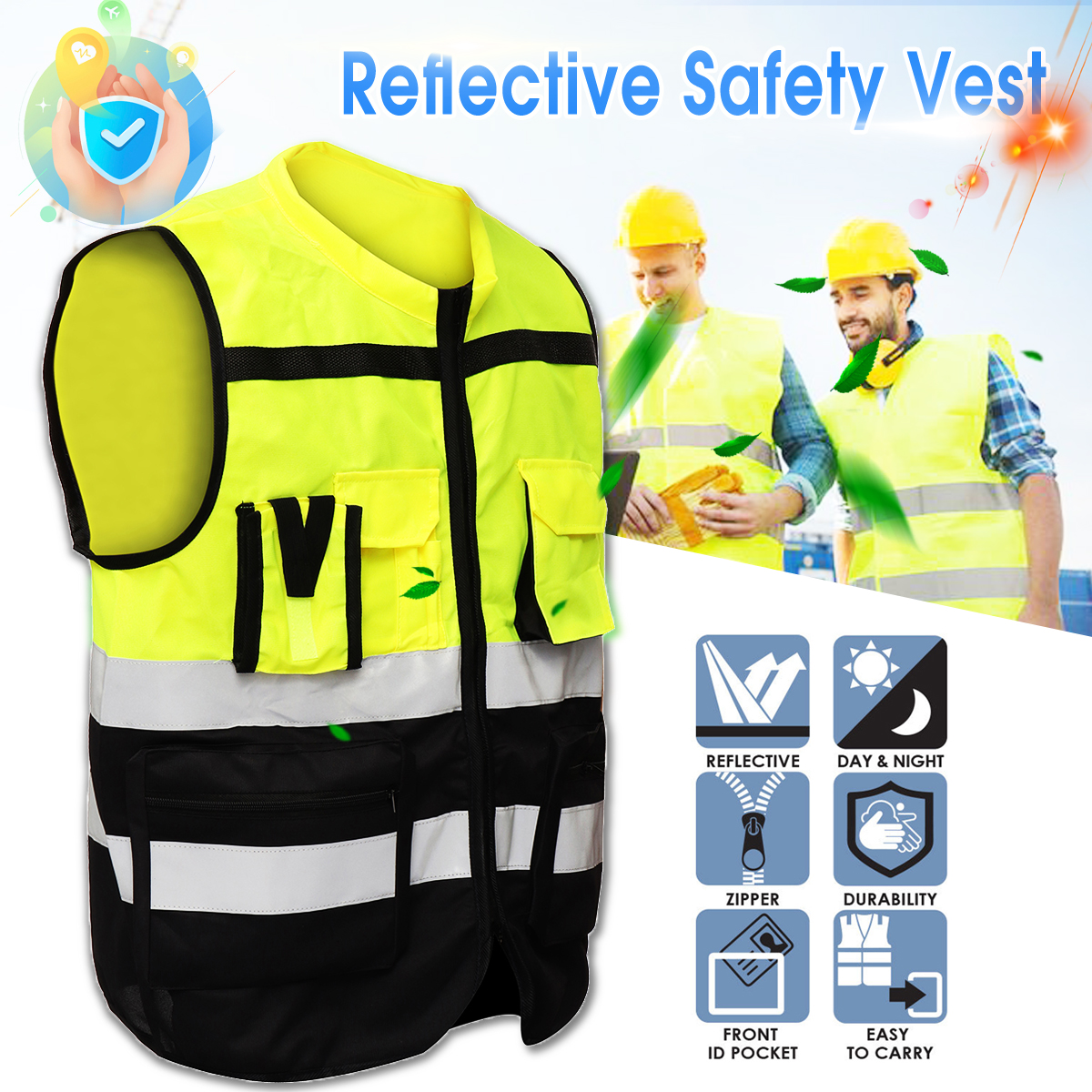 S/M/L High Visibility Hi-Vis Safety Vest Reflective Driving Jacket Night Security Waistcoat With Pockets For Work Run