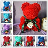40cm Merry Christmas Rose Bear Artificial Flower Roses Teddi Bear Women Gift GirlFriend Ornaments Teddy Bear of Rose Decorations
