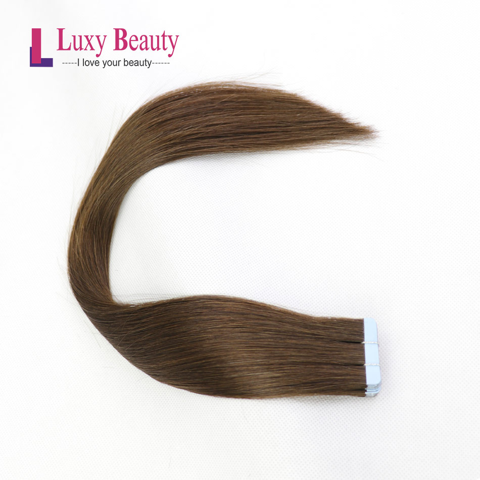 LuxyBeauty Tape Remy Hair Extensions Human Hair #4 Dark Brown14