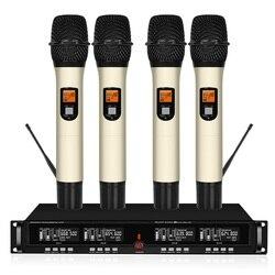 4-kanał bezprzewodowy system mikrofonowy UHF mikrofon ręczny kar) domu KTV mikrofon na scenie bezprzewodowy zajęcia na świeżym powietrzu
