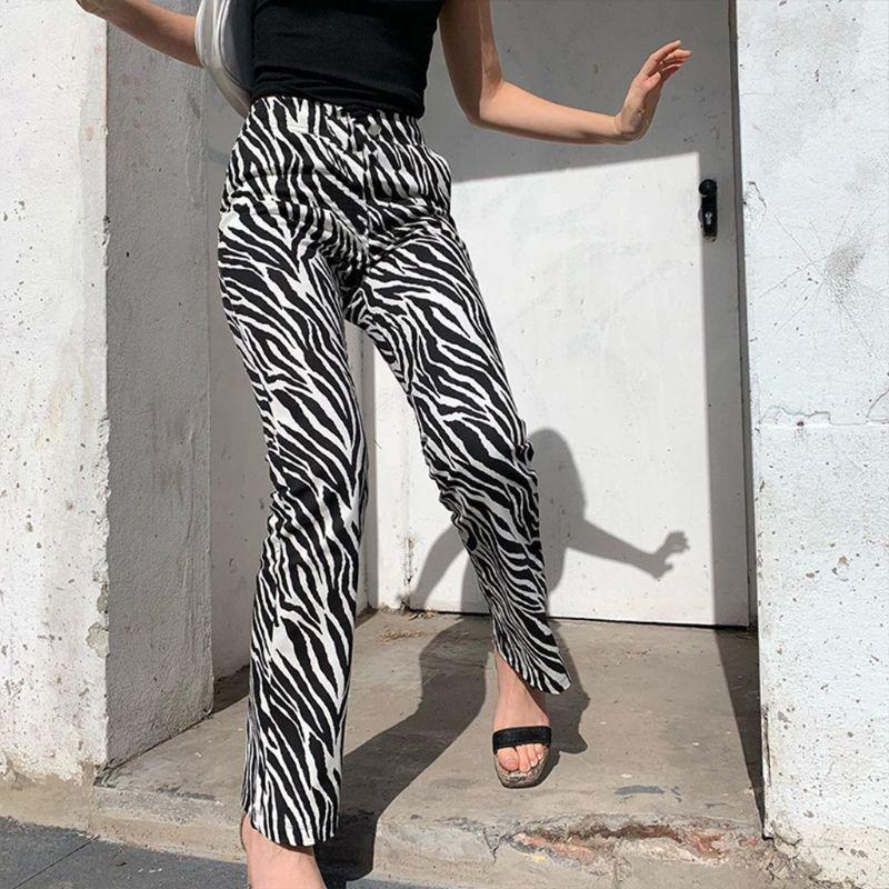 2020 Zebra Animal Print Elegant Pants Capris Harajuku High Waist Trousers Ladies Casual Office Pants Women Streetwear