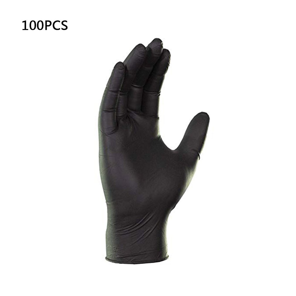 100 Pcs Disposable Work Gloves Black Anti-Acid And Alkali Anti-Static Protective Tattoo Nitrile Rubber Professional