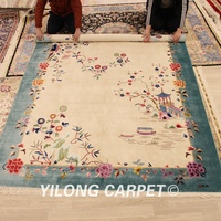 Yilong 6'x9' Vintage Art Deco Hand Knotted Oriental Chinese Silk Rugs Living Room Rug Bedroom Rug (TJ2018010A6x9)