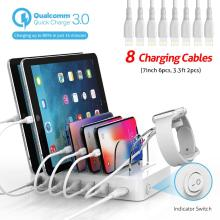 Soopii Quick Charge 3.0 60W/12A 6 Port USB Charging Station for Multiple Devices,Dock Station with 8 Cables for Iphone Included