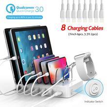 Soopii carga rápida 3.0 60w/12a 6 port usb estação de carregamento para vários dispositivos, estação de doca com 8 cabos para iphone incluído
