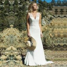 Привлекательное свадебное платье с v образным вырезом, прозрачное ТРАПЕЦИЕВИДНОЕ свадебное платье с бисером, кружевной аппликацией, карманами, фатиновой атласной юбкой Vestido de noiva
