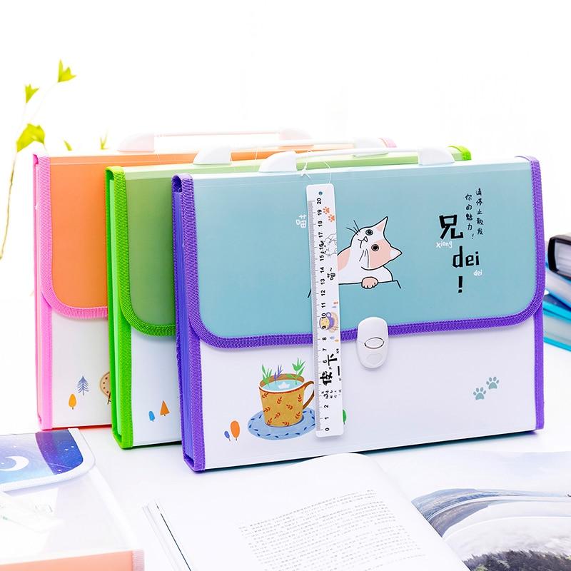 12-13 Grid Multi-layer Document Bag Expanding File Folder A4 Portable Handbag Student Stationery Office Organizer Paper Holder