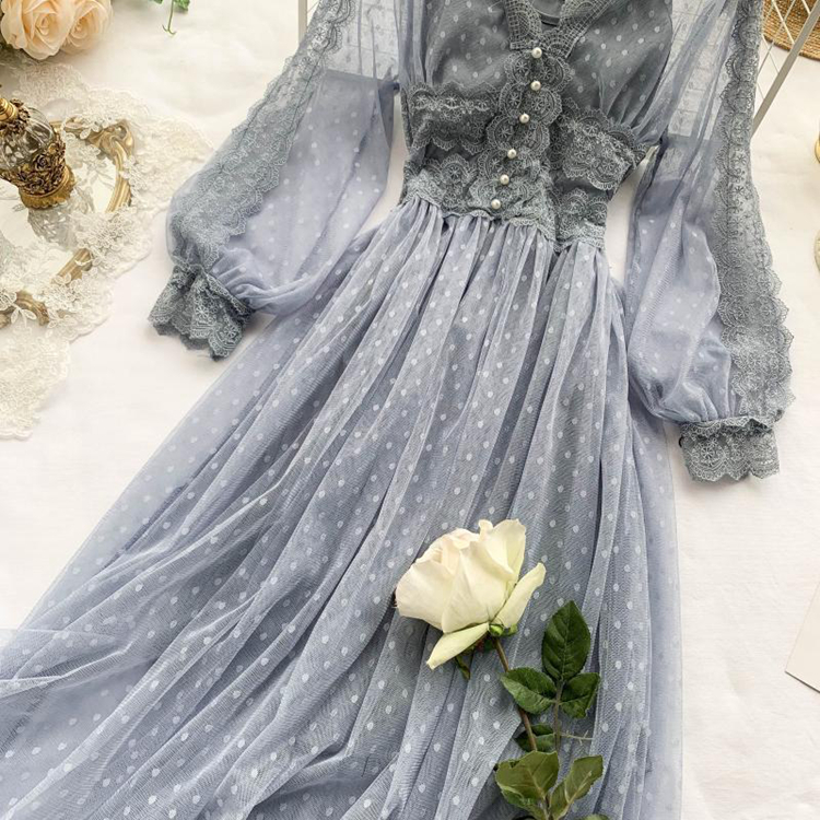 Lace Floral V-Neck Long Sleeve Polka Dot Dress 19