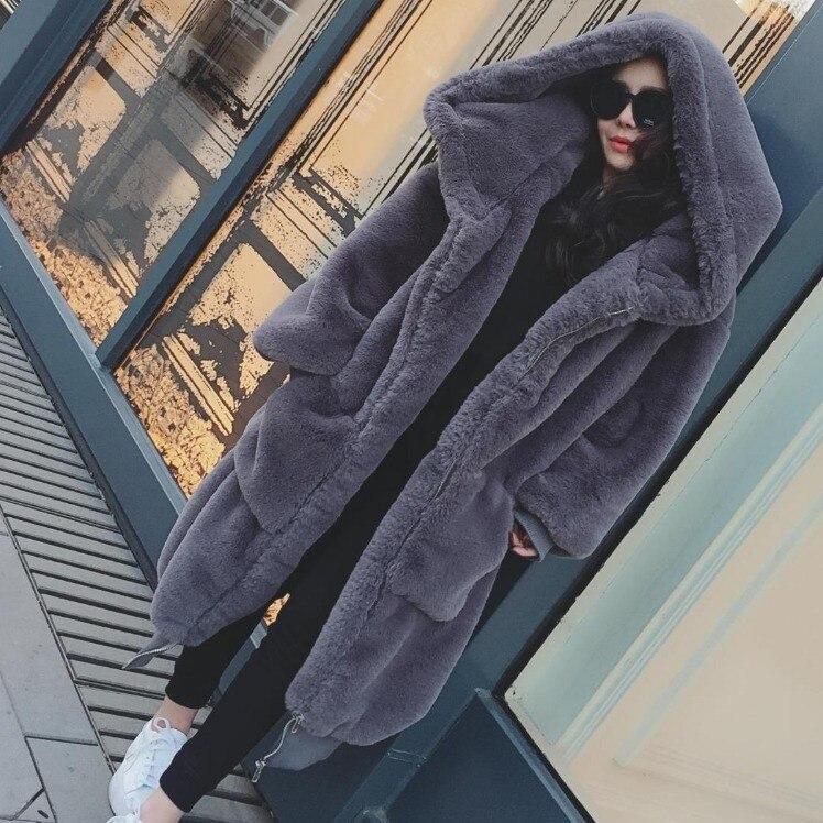 2019 Winter Women Thick Warm Hooded Artificial Mink Fur Overcoats Loose Plus Size Long Faux Fur Coat  Winter Women Warm Coat