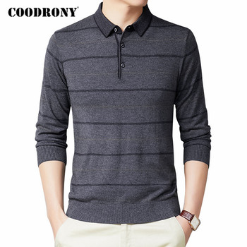 COODRONY Brand Wool Sweater Men Business Casual Striped Pull Homme Autumn Winter Turn-down Collar Knitwear Pullover Shirts C1090 coodrony brand wool sweater men streetwear fashion striped pull homme spring autumn casual knitwear v neck pullover shirts c1089