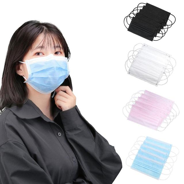 10/50/100Pcs Nonwoven mask Mouth Face Mask Disposable Black Masks White Earloops Masks New