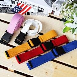 Cinturón de lona ajustable de 116cm para mujer, cinturón femenino informal con hebilla Harajuku, cinturón de mujer largo de Color sólido