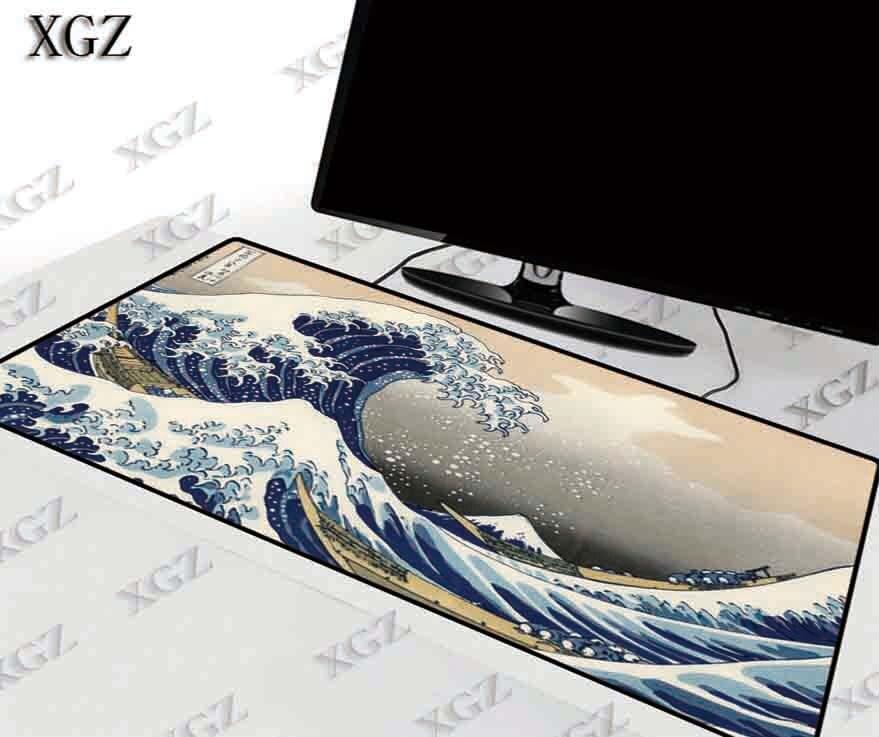 XGZ Great Waves Japan Art Large Gaming Mouse Pad Gamer Locking Edge Keyboard Mat Desk pad for CS GO LOL Dota Game XXL