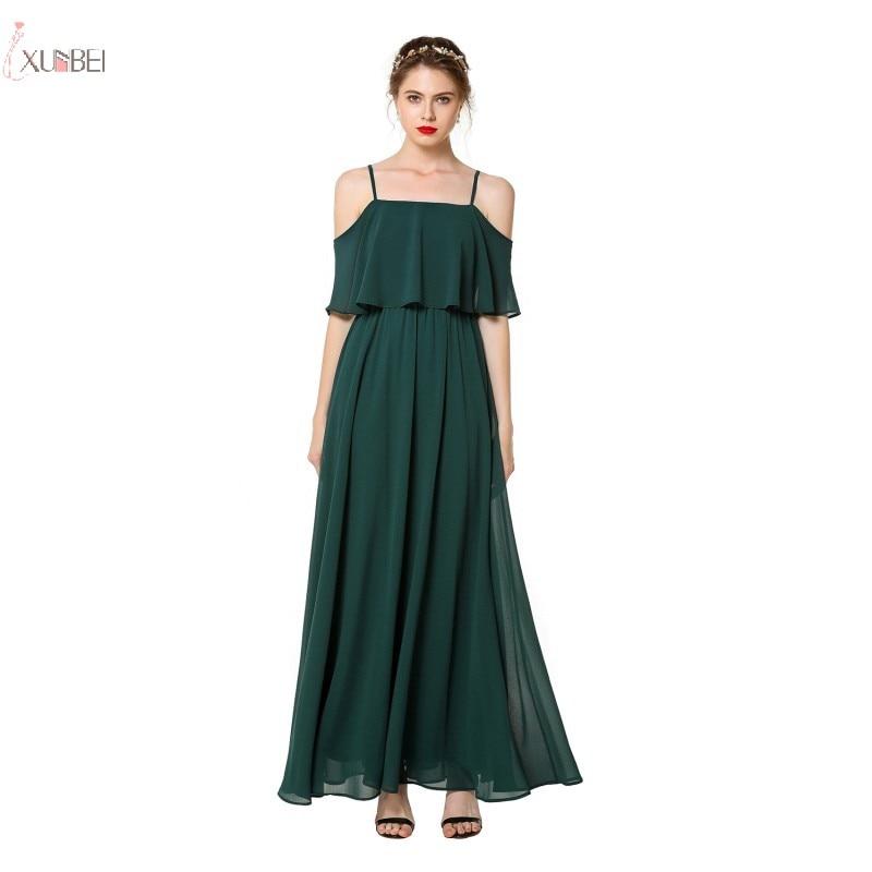 Deep Green Chiffon long Bridesmaid Dresses 2019 Elegant Wedding Party Guest Gown Off The Shoulder robe demoiselle d'honneur