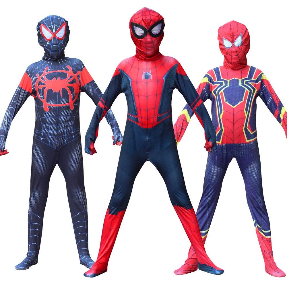 Halloween Spiderboy In Die Spinne Kinder Mann Kostüm Cosplay Miles Morales Zentai Anzüge Für Kinder Karneval Party Kleid Bis