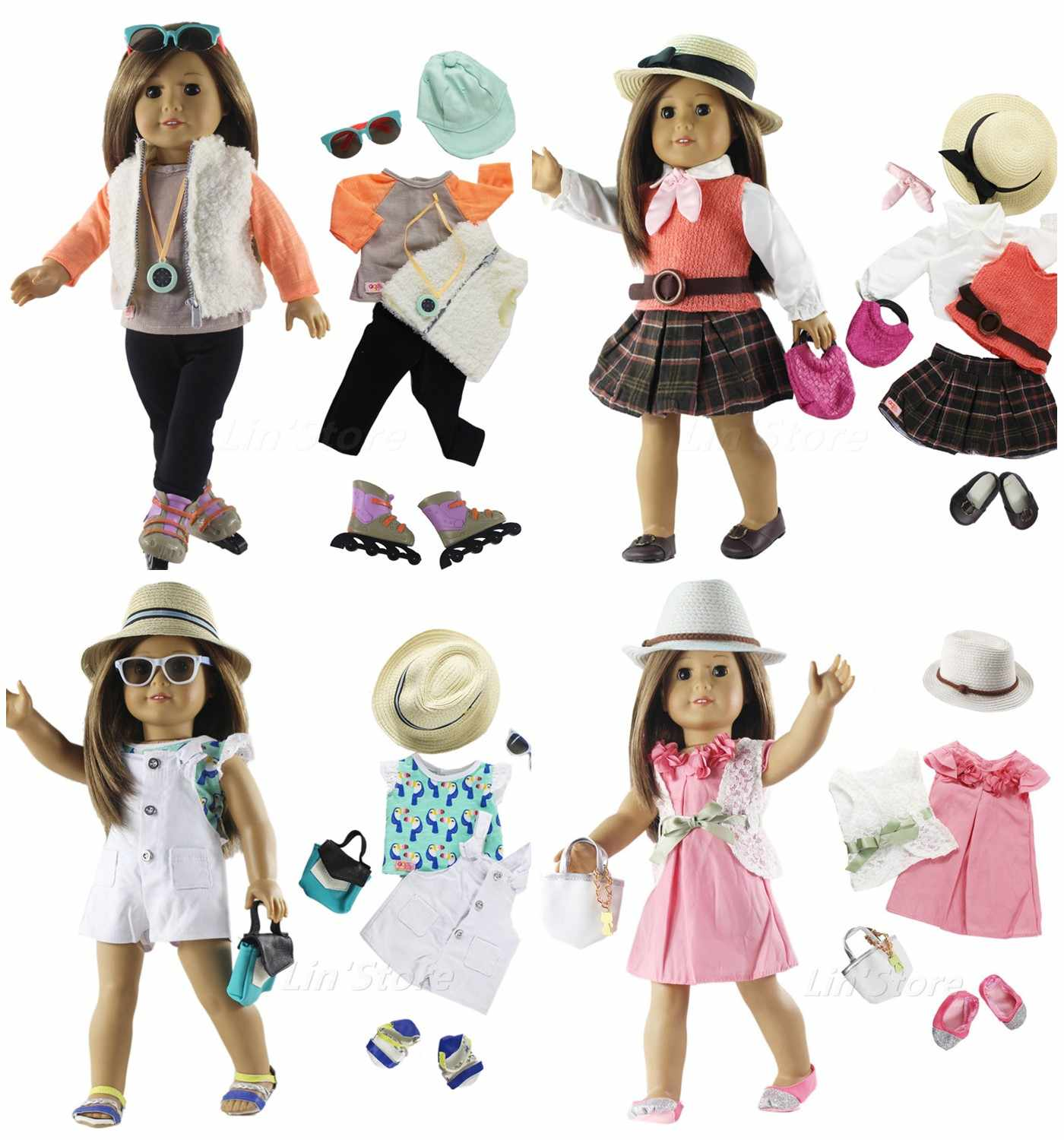 "Fashion Doll Clothes Set Toy Clothing Outfit for 18"" American Doll Casual Clothes Many Style for Choice B04"