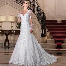 Vestido De novia Princesa sirena Vestido De novia 2020 Apliques De encaje mangas largas De perlas vestidos De boda personalizados hechos vestidos De novia
