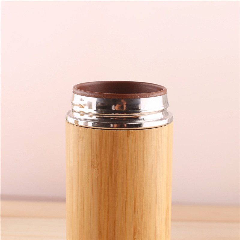 Image 4 - 1PCS/Pack Creative Bamboo Thermos Bottle 450ml Stainless Steel Tumbler Vacuum Flasks Insulated Bottles Coffee Mug For Travel Tea-in Water Bottles from Home & Garden