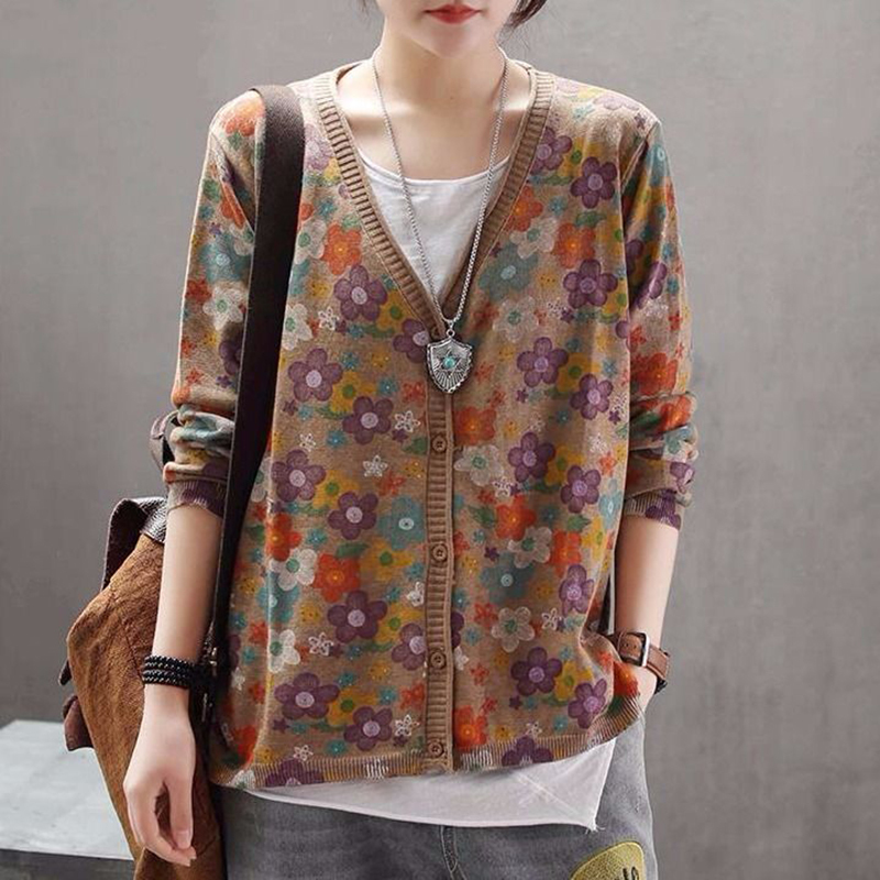 US $26.28 28% OFF|Autumn New Arts Style Women Long Sleeve Cardigans Single Breasted flower Print Knitted Vintage Sweater Female Knit Tops