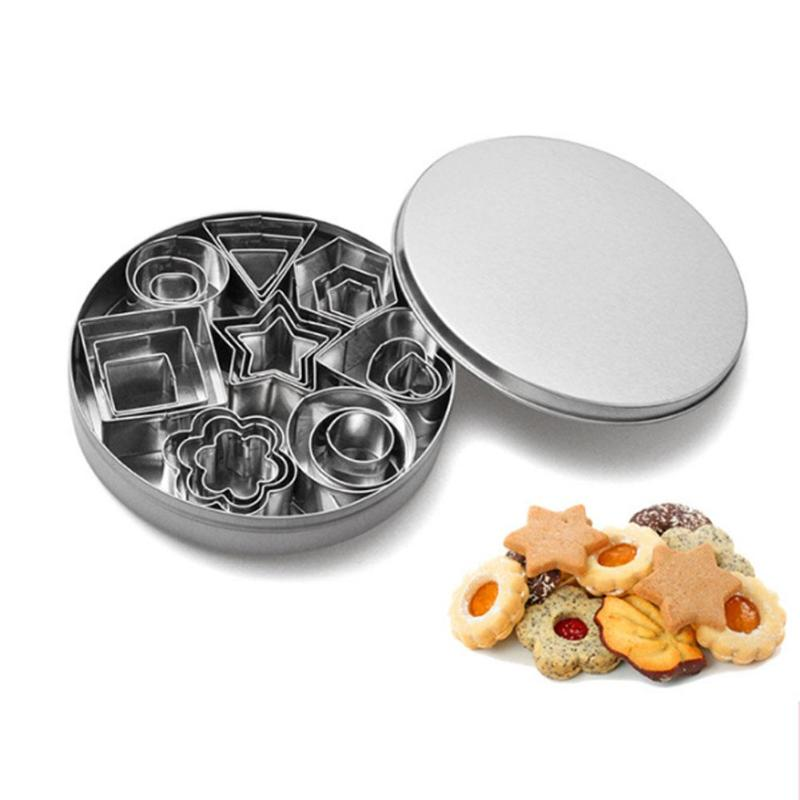 24Pcs Stainless Steel Cookie Biscuit Cutter Square Flower Star Heart Mold Fondant Stamp Cookies Baking  Decorating Tools