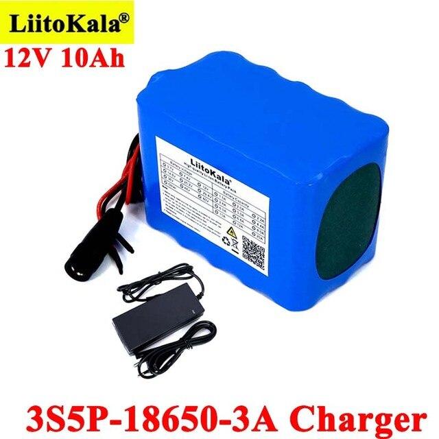Liitokala حماية 12 فولت 10ah 18650 بطاريّة ليثيوم قابلة لإعادة الشحن 12 فولت 10000 مللي أمبير لمراقبة أضواء الطوارئ + شاحن 12.6 فولت 3A