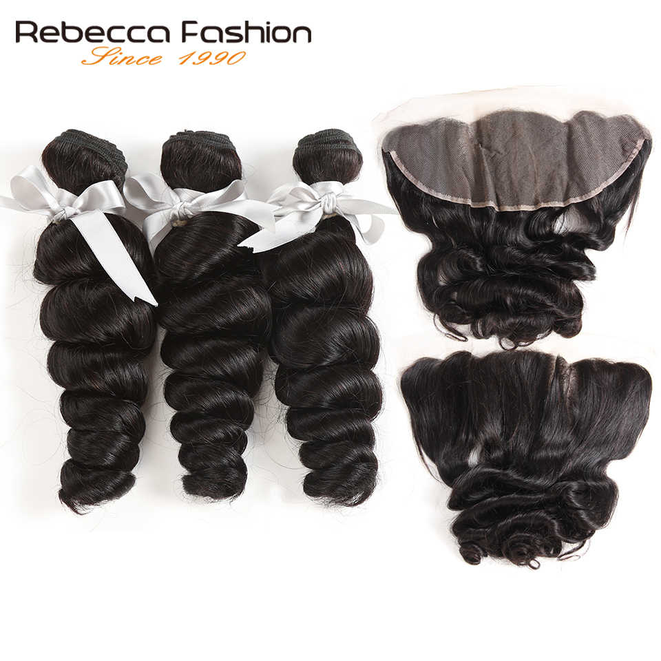 Rebecca Brazilian Loose Wave Bundles With Frontal Remy Human Hair 3 Bundles Loose Wave With Frontal