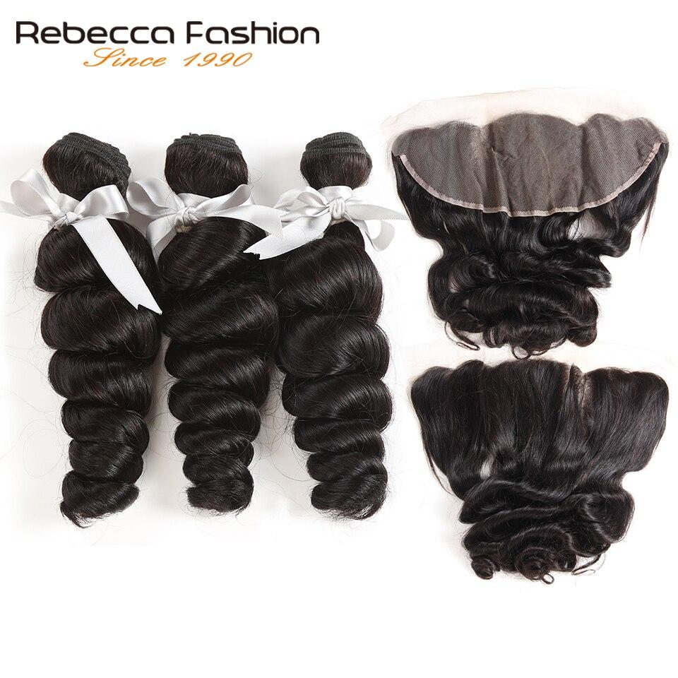 Rebecca Brazilian Loose Wave Bundles With Frontal Remy Human Hair 3 Bundles Loose Wave With Frontal