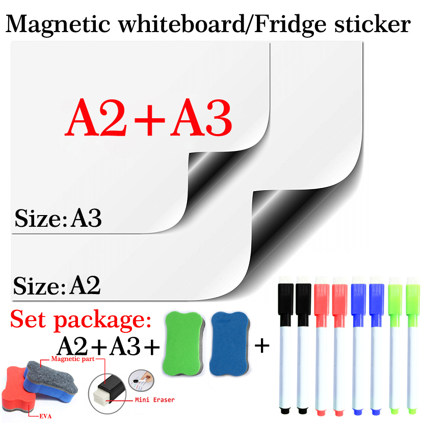 Soft Magnetic Whiteboard Fridge Sticker Home Office Kitchen School Stationery Dry Erase White Board Marker Pen A2+A3 Size