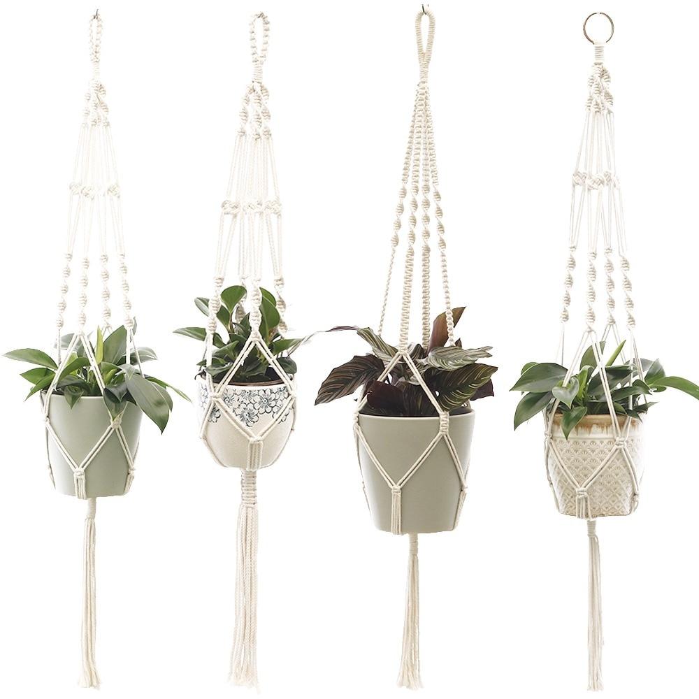 Подвесной ящик для комнатных растений, горшок держатель корзина Высокое качество макраме для растений из хлопка и льна Декор настенный дом...