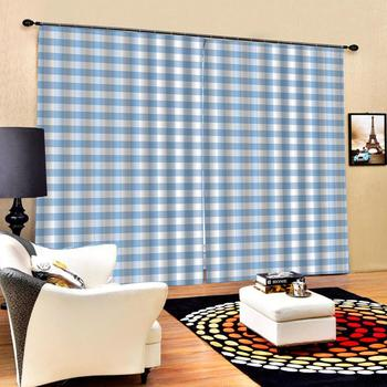 Curtain Decoration 3D Brief Blue white plaid Curtains For Bedroom Living room Polyester Room Curtain Custom curtains
